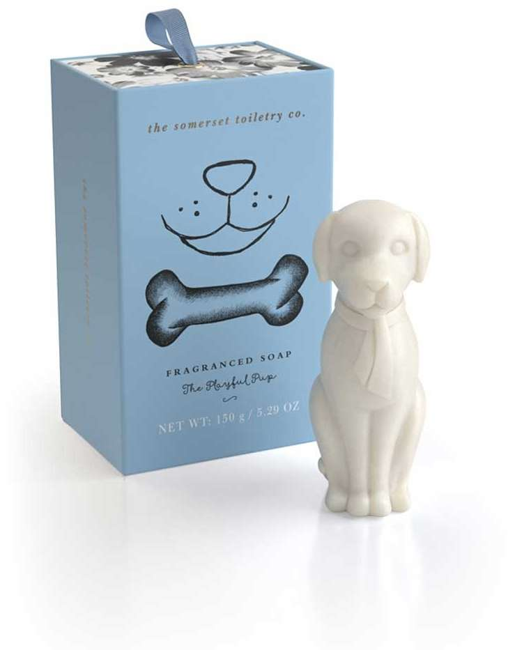 The playful pup soap