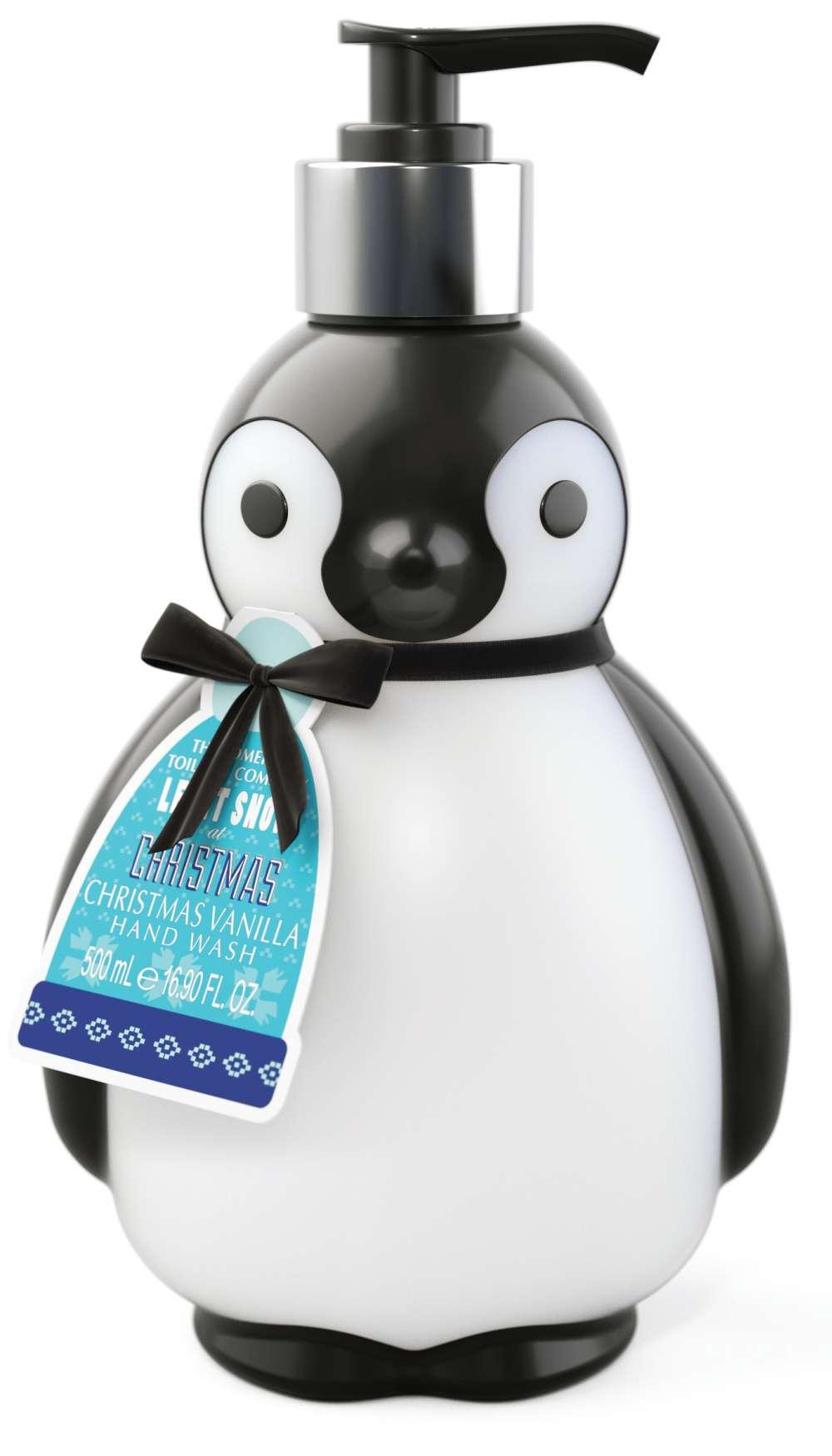 Christmas Penguin liquid soap bottle
