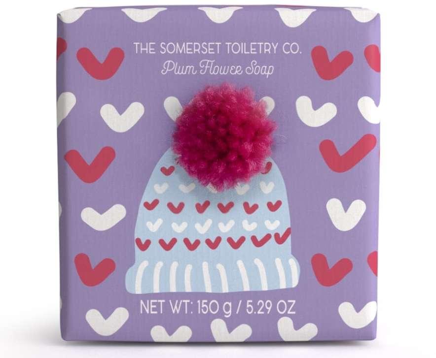 Bobble hat soap plum flower