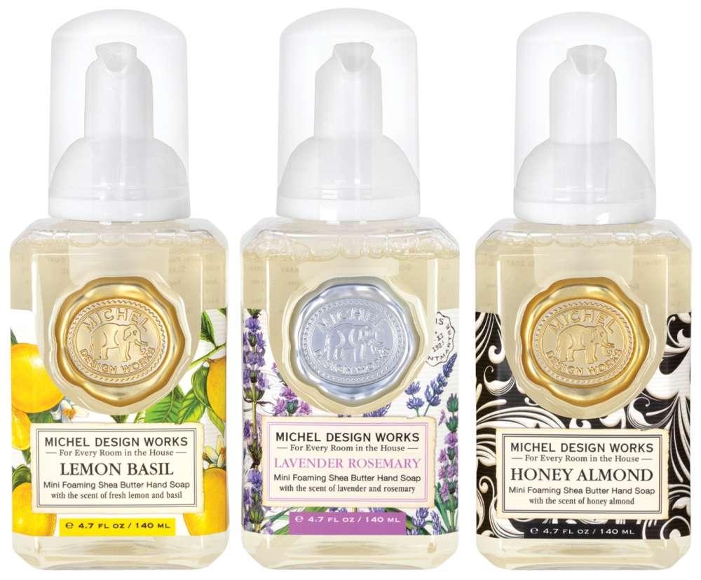 Mini Foaming Hand Soap Set - Lemon Basil, Lavender Rosemary and Honey Almond