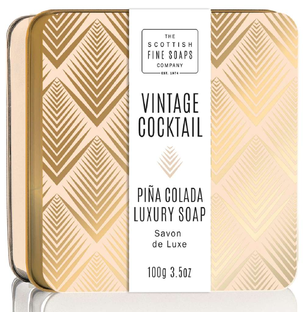 Scottish Fine Soaps Pina Colada Vintage Cocktail Soap In A Tin