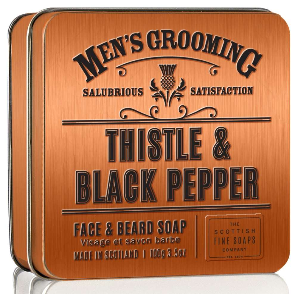Scottish Fine Soap Thistle & Black Pepper Face & Beard Soap