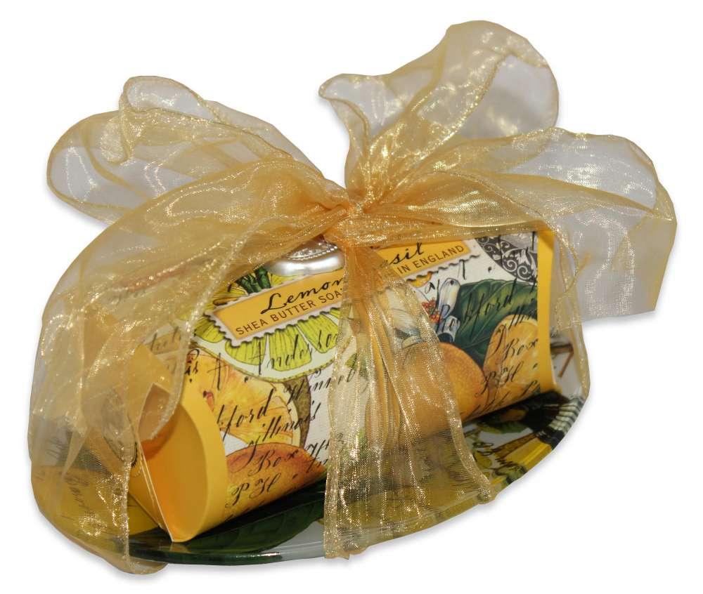 Lemon basil large soap bar and dish set